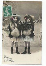 BP059 Carte Photo vintage card RPPC enfant mode fashion même habits Fantaisie