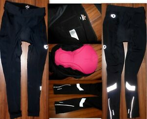 PEARL IZUMI ELITE THERMAL BLACK CYCLING TIGHTS PADDED ZIP ANKLE FLEECE LINED XL