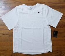 NIKE DRI-FIT Men's White Small Athletic V-Neck T-Shirt Short Sleeve NWT