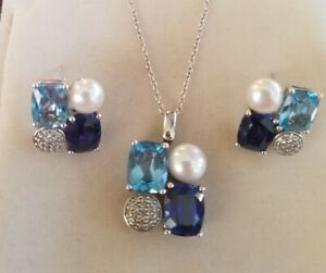 Sapphire, Acquamarine, Pave & Pearl In Sterling Silver Earrings & Pendant Set