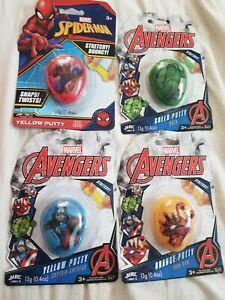 NIP lot of (4) Marvel Superhero Putty Stretchy Fluffy Bouncy Toy Sensory Stress