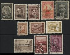 11x ARGENTINA Official 1901 to 1968 Postage Stamps Overprints
