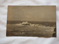 Real Photo postcard taken from Railroad tracks Pacific Ocean RPPC