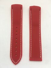 20mm RED rubber strap with WHITE stitching for OMEGA SEAMASTET