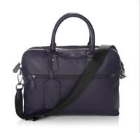 $495 Polo Ralph Lauren Mens Pebbled Leather Messenger Briefcase Crossbody Bag