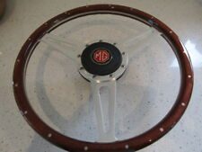 MGA wooden steering wheel with crackle finish boss - also available for MGB