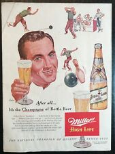 """1953 Miller High Life """"Champagne of Bottle Beer"""" Bowling Print Ad"""