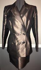 Badgley Mischka Skirt Suit Silk Blend Brown 8