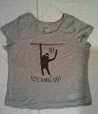 "Woman's Grey PJ top with sloth ""Lets hang out"" graphics pajama pjamas size 12"