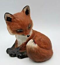 Franklin Porcelain 1985 Outfoxed Fox Figurine by Deborah Bell Jarrett Ladybug
