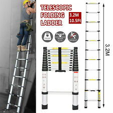 10.5FT Aluminum Telescopic Collapsible Loft Folding Hatch Attic Stairs Ladder US