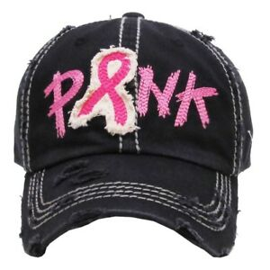 """""""PINK"""" Breast Cancer Awareness Embroidered, Vintage Style Ball Cap Washed-look"""