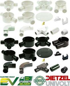 20mm & 25mm PVC conduit accessories White & Black Bends Tees Boxes Adaptors Lids