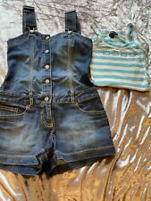 BEBE Denim Playsuit Dungarees And Matching Top Xs