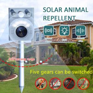 5 Gears Animal Bird Repeller Solar Powered Dog Mice Ultrasonic Pest Repeller