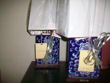 Ralph Lauren Lotus porcelain blue and white table lamps set~pair