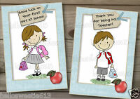 PERSONALISED 3D THANK YOU TEACHER, GOOD LUCK ON FIRST DAY AT SCHOOL CARD (b)