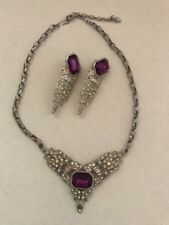 VINTAGE PARK LANE ART DECO INSPIRED SILVER TONE NECKLACE FAUX AMETHYST & EARRING