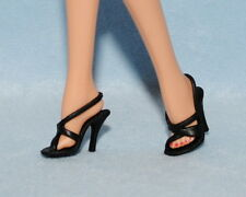 CLASSICAL! Black Open Toe Strappy High Heels Genuine BARBIE Shoes