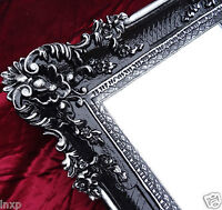 BAROCK Wandspiegel Rechteckig Schwarz Silber WANDDEKO Antik Spiegel 96x57  WOW