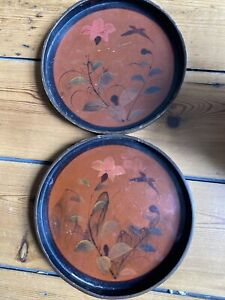 2 laquered ? decorated trays shabby chic