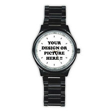 PERSONALIZED Custom Your LOGO PHOTO Mens Stainless Steel Round Dial Analog Watch
