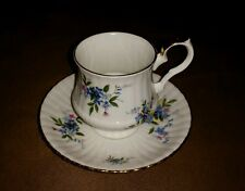 Royal Windsor England Blue Violet Flowers Fine Bone China Tea Cup and Saucer Set