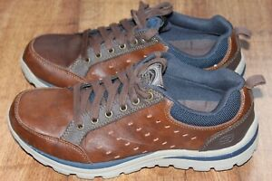 SKECHERS SIZE UK 6 EUR 39.5 RELAXED FIT MEMORY FOAM MENS BROWN LEATHER SNEAKERS