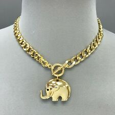 Fashionable Gold Chain Choker Style Necklace With Metal Elephant Charm Pendant