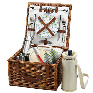 Picnic at Ascot Full Reed Willow Cheshire Basket for 2 with Coffee Set (702C)