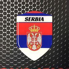 """SRBIJA SERBIA Proud Shield Flag Domed Decal Emblem Sticker Crest 3D 2.3""""x 3.3"""""""