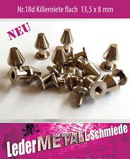 Nr.18d -5 Stück  vernickelte Stahl Schraubnieten 13,5x8mm,Killernieten, Gothic