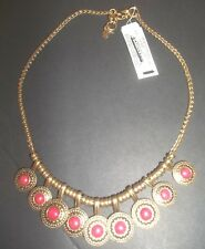 Lucky Brand Necklace coral Semi Precious Accents Gold Tone Circle Pendants 4812