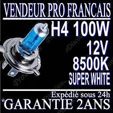 AMPOULE LAMPE HALOGENE FEU PHARE XENON GAZ SUPER WHITE H4 100W 8500K 12V MOTO