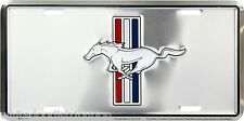 Ford Mustang Embossed Chrome Aluminum License Plate Auto Tag