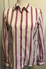 ROBERT GRAHAM Womens Pink White Stripe SHIRT Long Sleeve  Size 10 Flip Cuff