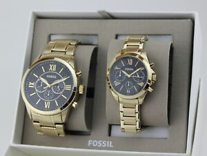 NEW AUTHENTIC FOSSIL FLYNN MODERN COURIER HIS HER GOLD WOMEN'S BQ2400 SET WATCH