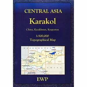Karakol topographic map Central Asia Kyrgyzstan Kazakhstan China hiking trekking