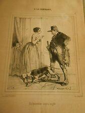 Litho 1849 Chasse Un braconnier surpris au gite
