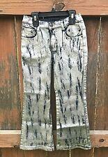 Girls Size 6X Route 66 Metallic Silver Blue Jeans Pants Partial Elastic Waist