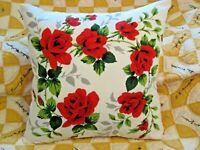 Throw Pillow Wilendur Red Roses Wreath Farmhouse Mid Century Tablecloth Sham