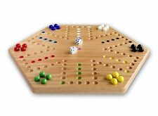 "Oak Wood Hand-Painted 16"" Aggravation Board Game, Double-Sided"