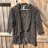 Next Dark Grey Lace Open Front Blazer Jacket Size 12 VGC