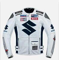 Suzuki White Icon Leather Jacket Men Suit Motorbiker Trouser Racing Pants