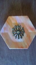 Octagon Orange Stained Glass Clock -