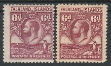 FALKLAND ISLANDS 1929 KGV WHALE AND PENGUIN 6D BOTH SHADES