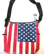 NEW RED,WHITE,BLUE+AMERICAN FLAG CANVAS MESSENGER BAG,PURSE,CROSS BODY