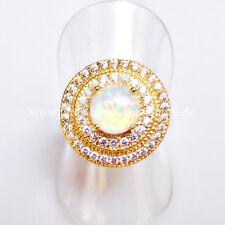 Weißer Cabochon Feuer Opal Zirkonia Designer Ring 925er 750 gelbvergoldet 18,1mm