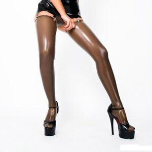 Rubber Latex Stockings Brown Sexy Cosplay Club Tight Hight Leg Socks 0.4mm