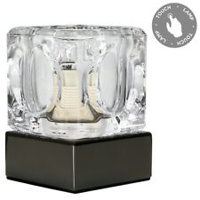 Modern Black Chrome Glass Ice Cube Touch Bedside Table Lamp Light Lamps NEW